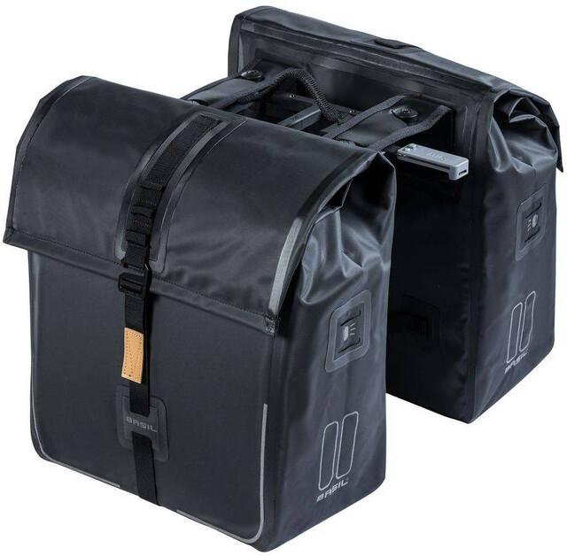 Basil Urban Dry Tupla tavaratelinelaukku 50l MIK kiinnitysjärjestelmällä, solid black